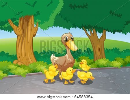 Illustration of a mother duck and her ducklings at the road