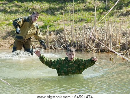 people in pond