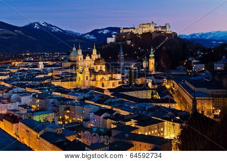 a city view of the city of salzburg in austria .. old town and hohensalzburg fortress