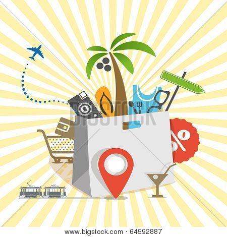 Travel illustration. Season discount tour poster