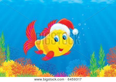 A funny fish swimming over the colorful coral reef wears a Christmas cap like Santa Claus poster