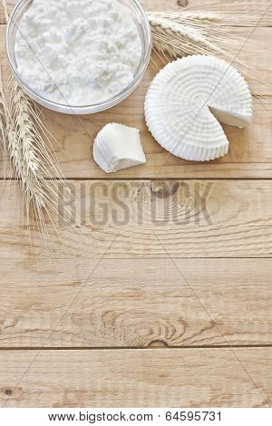 Cottage Cheese, Tzfat Cheese And Grains Background