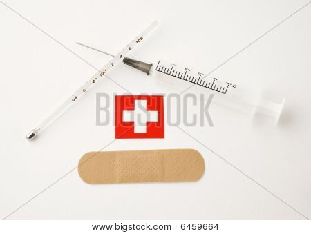 Syringe Plaster Thermometer And Sign
