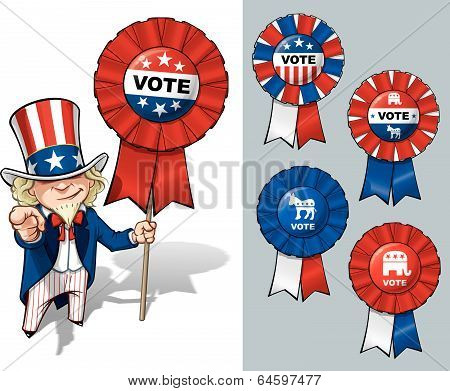 "Vector Cartoon Illustration of Uncle Sam holding a Vote ribbon - banner - badge and pointing ""I want you"" like the classic WWI poster. All options are in-place neatly in well described groups and layers poster"
