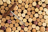 background texture of neatly arranged corks and calassic wine bottle opener wine packed tightly together with their tops facing up to the camera forming a circular pattern poster