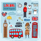 Set of hand-drawn illustrations of London landmarks and iconic symbols including beefeater guard  Big Ben  tea  telephone booth red double-decker bus poster