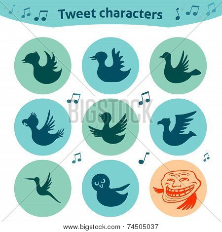 Trendy round icons of tweet bird characters. Nice social media Internet for definition of style of tweet posts. poster