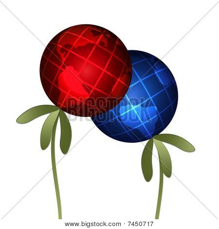 Abstract plant globes