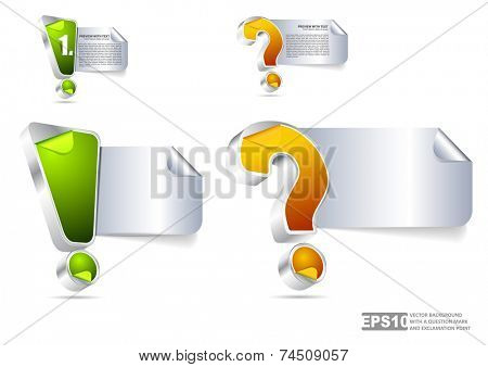 3D colored question mark and exclamation mark with place for text