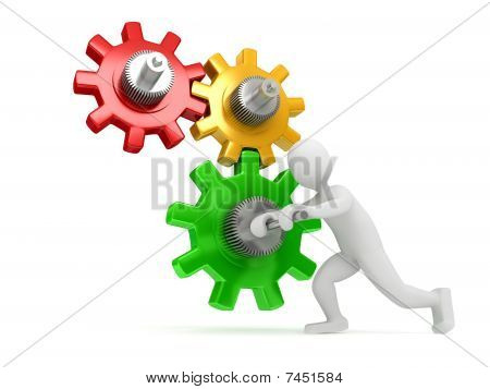 Gears over white background