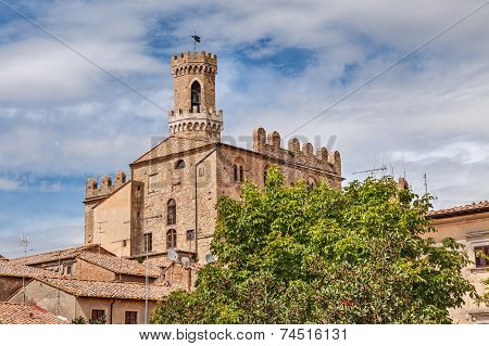 view of the medieval Palazzo dei Priori in Volterra Tuscany Italy - the most ancient Tuscan town hall (1257) poster