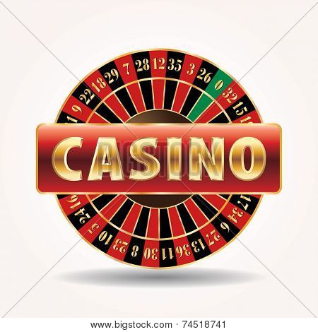 vector golden sign for casino with roulette wheel