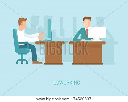 Vector Coworking Concept In Flat Style