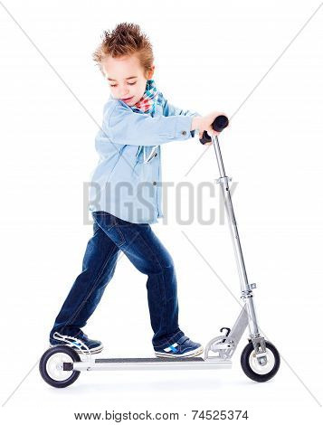 Boy Playing With Scooter