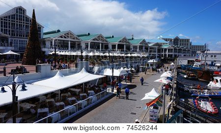 Quayside Street In Waterfront Area In Cape Town, South Africa.