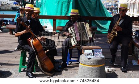 African Street Band Performs On The Waterfront In Capetown, South Africa.