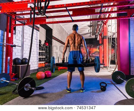 Hex Dead Lift Shrug Bar Deadlifts man at gym workout weightlifting poster