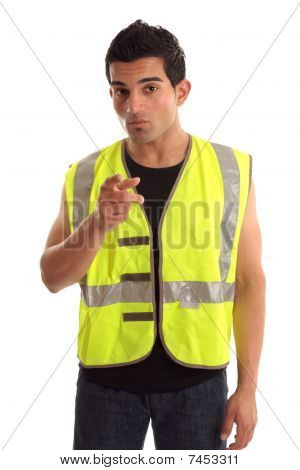 Construction Worker Pointing His Finger