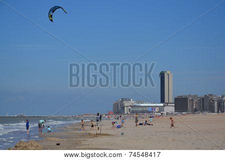 Kiting On A Beach In Oostende, Belgium