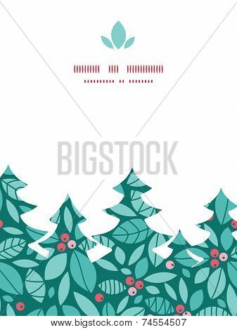 Vector christmas holly berries Christmas tree silhouette pattern frame card template