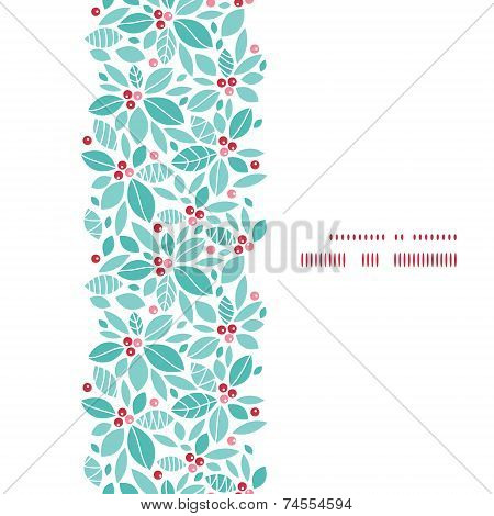 Vector christmas holly berries vertical frame seamless pattern background