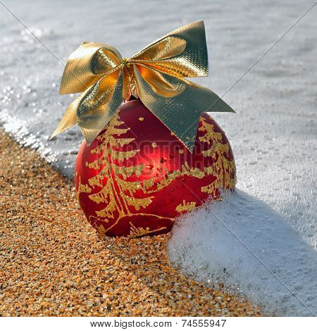 Christmas Decoration On The Beach