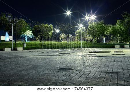 Street At Night In The New Town With Light And Trees