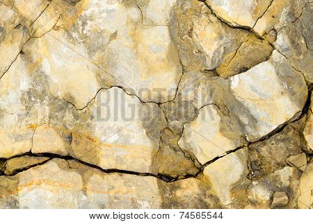 Laminated Rocky Surface From The Riverbed Of The Mountain River