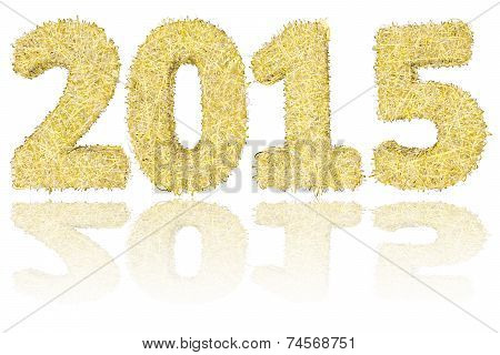 2015 Digits Composed Of Golden And Silver Stripes On Glossy White Background