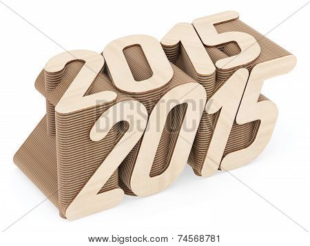 2015 Digits Composed Of Intersected Wood Panels On White Background