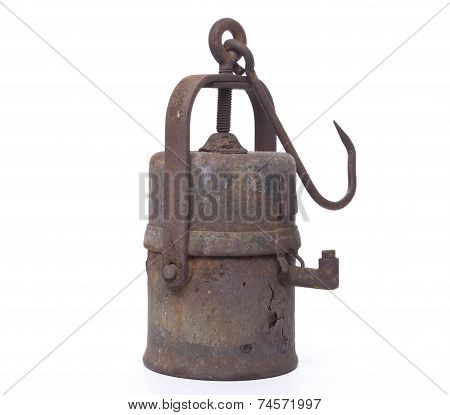 Old mine carbide lamp on white background
