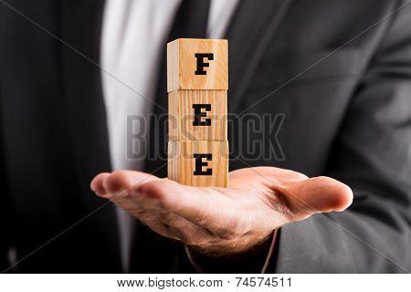 Businessman Holding Wooden Blocks Reading Fee