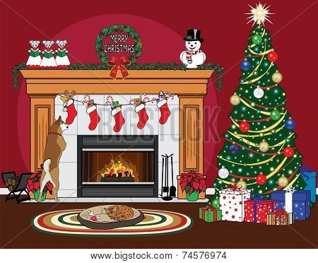 Christmas Fireplace Scene on Red
