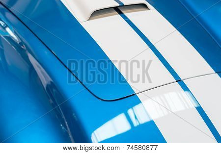 Blue And White Striped Hood Of Classic Car