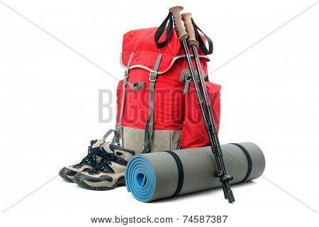 hiking equipment, rucksack, boots  and slipping pad