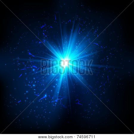 Blue vector shining cosmic flash on black background poster