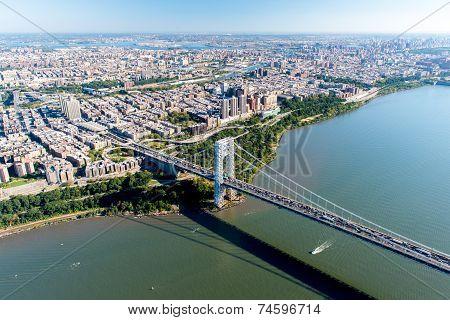 Aerial View Of George Washington Bridge, New York/new Jersey