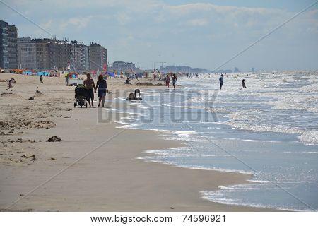 People On A Beach In Oostende, Belgium
