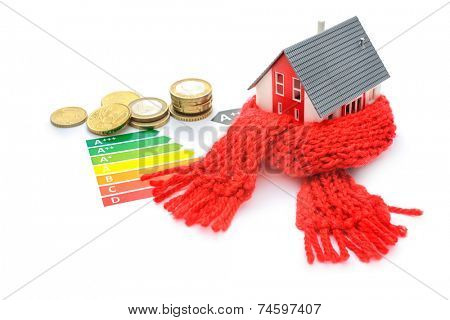 Thermal insulation, house energy efficiency concept isolated on white