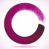 Illustration of Violet paintbrush circle vector frame poster
