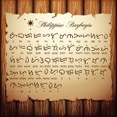 This is the old text of Baybayin script, the ancient alphabet of the Philippine language in which it was existed before the Spanish colonization of that country. poster