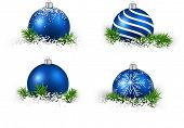 Colorful set of blue realistic christmas balls on snow with fir branches. Vector illustration.  poster
