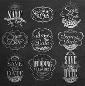 Save The Date, Wedding Invitation Vintage Typographic Design Elements On Chalkboard poster