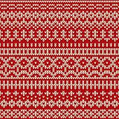 Vector illustration of knitted seamless pattern in traditional Fair Isle style poster
