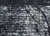 The surface with the streaks of black tar. poster