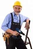 repairman in hardhat with drill and tool belt poster