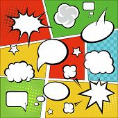 Comic strip  and comic speech  bubbles on colorful halftone background vector illustration poster
