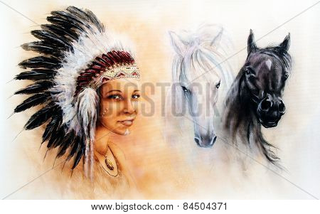 beautiful painting of a young indian woman wearing a gorgeous feather headdress with an image of of black and white horse poster