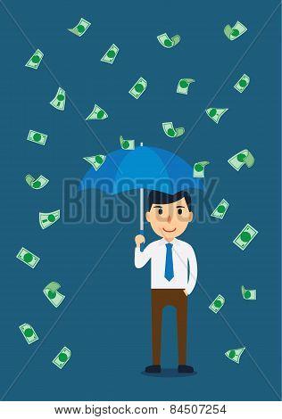 Businessman in a rain of money