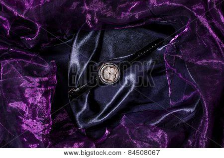 Jewelry Wristwatch On Silk